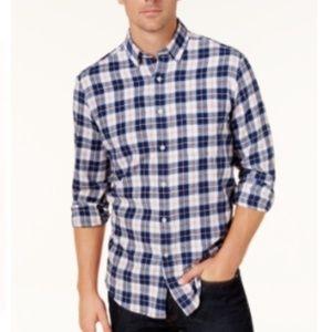 Men's Marine Blue Plaid Flannel Button-Down Shirt